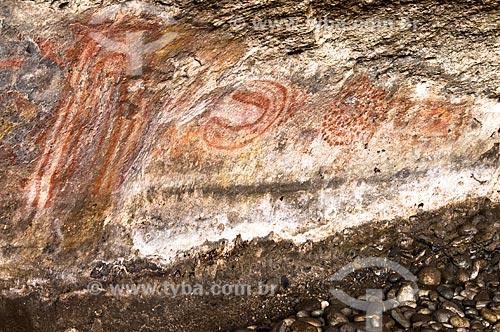 Assunto: Pintura rupestre em Punta WalichuPaleolithic cave paintings, Walichu Caves, Patagonia Argentina.  / Local: El Calafate - Província de Santa Cruz - Argentina - América do Sul / Data: 02/2010