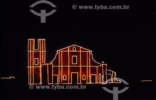 Assunto: Vista noturna da Igreja de São Miguel - Ruínas de São Miguel das Missões / Local: Santo Ângelo - Rio Grande do Sul (RS) - Brasil / Data: 01/2006