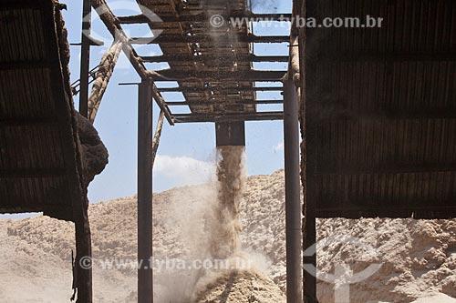 Bagaço de Cana na Usina de Cogeração (açúcar, etanol e energia elétrica) da empresa Guarani  - Olímpia - São Paulo (SP) - Brasil