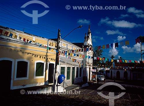 Assunto: Rua enfeitada com bandeiras para Festa de São João / Local: Igarassu - Pernambuco (PE) - Brasil / Data: 08/2008