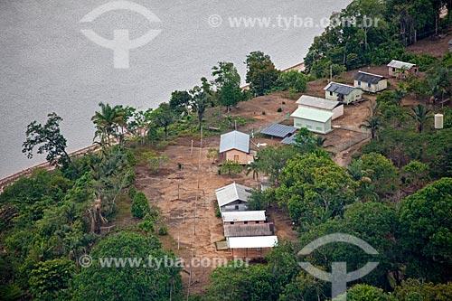 Assunto: Vista aérea da comunidade ribeirinha de Aracari  / Local: Novo Airão - Amazonas (AM) - Brasil / Data: 10/2011