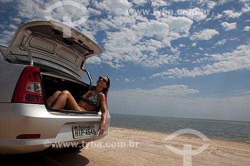 Assunto: Turista na Lagoa dos Patos / Local: Tavares - Rio Grande do Sul (RS) - Brasil / Data: 02/2012