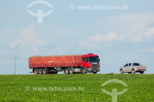 Assunto: Caminhão graneleiro passando em plantação de soja - Trecho da Rodovia BR - 153 / Local: Rondonópolis - Mato Grosso (MT) - Brasil / Data: 12/2011