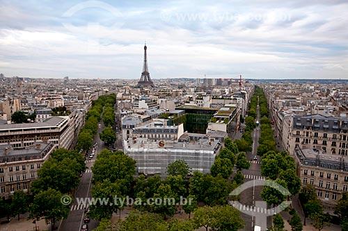 Assunto: Vista aérea de Paris do Arco do Triunfo / Local: Paris - França - Europa / Data: 06/2012
