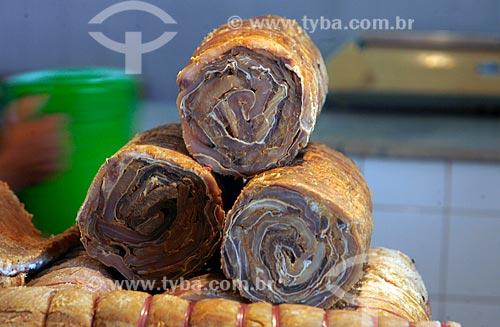Assunto: Manta de Pirarucu (Arapaima gigas) salgada comercializada no Porto de Manaus / Local: Manaus - Amazonas (AM) - Brasil / Data: 02/2010