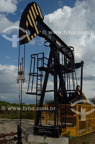 Assunto: Bomba de vareta de sucção - também conhecida como Cavalo de pau - extraindo petróleo perto da RN-221 / Local: Rio Grande do Norte (RN) - Brasil / Data: 04/2012