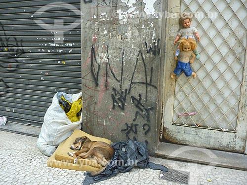 Assunto: Cachorro dormindo junto aos pertences de um morador de rua no centro da cidade / Local: São Paulo (SP) - Brasil / Data: 05/2010