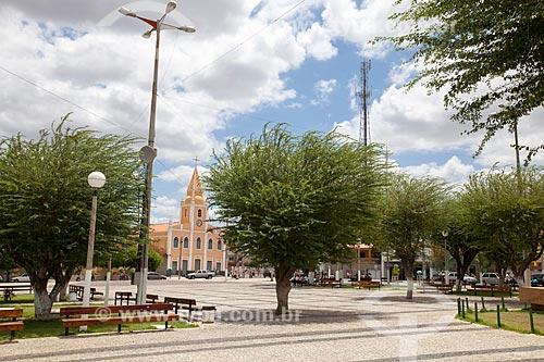 Assunto: Praça José de Barros (Praça do Leão) com Igreja do Sagrado Coração de Jesus ou Igreja do Colégio das Irmãs ao fundo / Local: Quixadá - Ceará (CE) - Brasil / Data: 11/2012