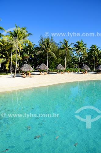 Assunto: Praia com barracas feitas de sapé e espreguiçadeiras / Local: Ilha Bora Bora - Polinésia Francesa - Oceania / Data: 10/2012