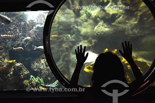 Assunto: Menina observando aquário no Sea World / Local: San Diego - Califórnia - Estados Unidos da América - EUA / Data: 09/2012