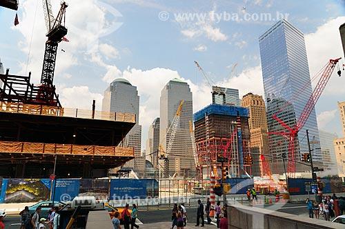 Marco zero do World Trade Center - Obras de construção das torres no mesmo local onde ficavam as Torres Gêmeas do complexo destruídas após os ataques terroristas de 11 de setembro de 2001  - Nova Iorque - Estados Unidos