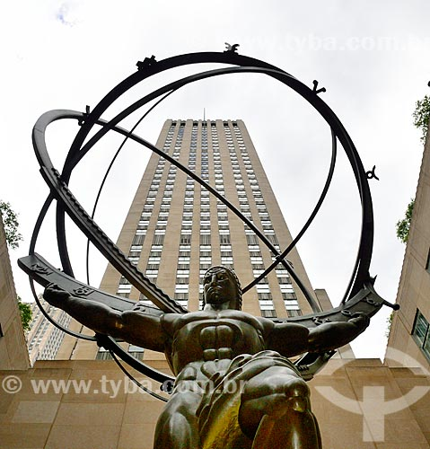 Assunto: Estátua de Atlas no Rockefeller Plaza / Local: Manhattan - Nova Iorque - Estados Unidos - América do Norte / Data: 09/2010