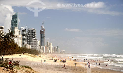 Assunto: Praia em Broadbeach com edifícios ao fundo / Local: Broadbeach - Queensland - Austrália - Oceania / Data: 01/2011