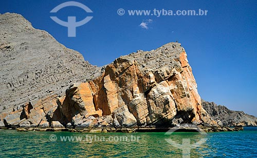Assunto: Rocha no Khor Najd - importante ponto turístico de Omã / Local: Musandam - Omã - Ásia / Data: 02/2011