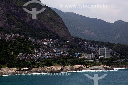 Assunto: Casas na favela do Vidigal com Hotel Sheraton à direita / Local: São Conrado - Rio de Janeiro (RJ) - Brasil / Data: 12/2012