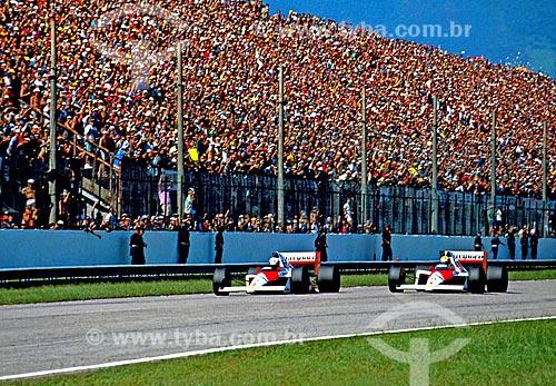 Assunto: Ayrton Senna e Alain Prost no Grande Prêmio de Fórmula 1 no Autódromo Internacional Nelson Piquet conhecido como Autódromo de Jacarepaguá / Local: Jacarepaguá - Rio de Janeiro (RJ) - Brasil / Data: 1989
