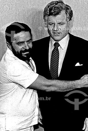 Assunto: Encontro de Luiz Inácio Lula da Silva e Edward Moore conhecido como Ted Kennedy  durante sua passagem pelo Brasil / Local: São Paulo (SP) - Brasil / Data: 1984