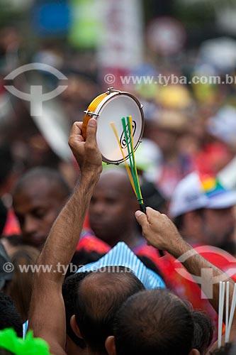 Assunto: Tamborim no desfile da Banda de Ipanema / Local: Ipanema - Rio de Janeiro (RJ) - Brasil / Data: 01/2013