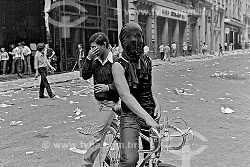 Assunto: Manifestantes durante a greve dos bancários / Local: São Paulo (SP) - Brasil / Data: 1979