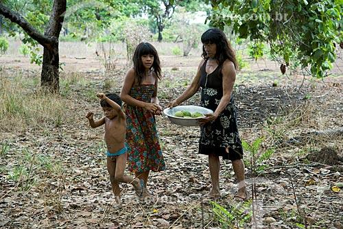 Assunto: Mulher e crianças da aldeia Aiha Kalapalo colhendo Pequi (Caryocar brasiliense) - ACRÉSCIMO DE 100% SOBRE O VALOR DE TABELA / Local: Querência - Mato Grosso (MT) - Brasil / Data: 10/2012