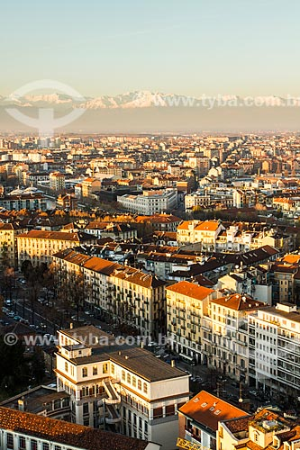Assunto: Vista da cidade de Turim a partir do topo da Mole Antonelliana, com a Colina de Superga ao fundo / Local: Turim - Província de Turim - Itália / Data: 12/2012