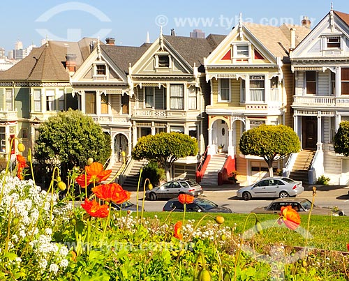 Assunto: Casas (Painted Ladies) na Rua Steiner (Steiner Street) / Local: São Francisco - Califórnia - Estados Unidos da América - EUA / Data: 02/2013