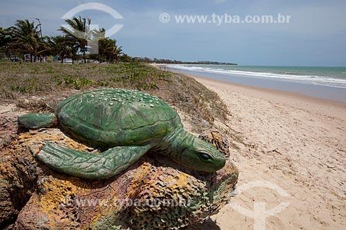 Assunto: Praia de Intermares com esculturas de Tartarugas-de-Pente (Eretmochelys imbricata) que simbolizam o Projeto Tartaruga Urbana (ONG Guajiru) / Local: Cabedelo - Paraíba (PB) - Brasil / Data: 02/2013