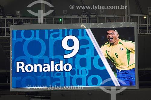 Novo placar eletrônico do estádio no Evento-teste do Maracanã - jogo entre amigos de Ronaldo Fenômeno x amigos de Bebeto que marca a reabertura do estádio  - Rio de Janeiro - Rio de Janeiro - Brasil