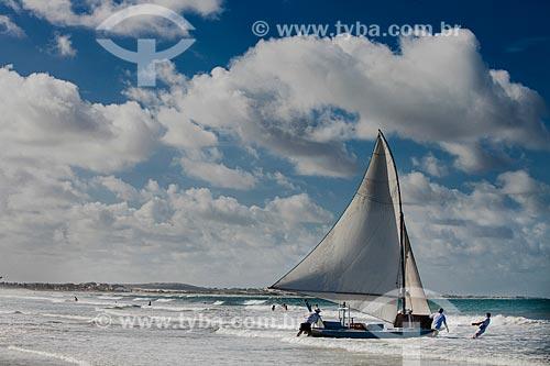 Assunto: Jangada na Praia de Genipapu da APA de Jenipapu / Local: Extremoz - Rio Grande do Norte (RN) - Brasil / Data: 03/2013