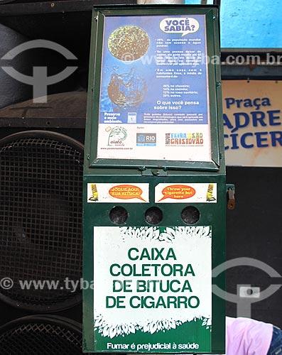 Assunto: Lixeira específica para restos de cigarros  no Centro Luiz Gonzaga de Tradições Nordestinas / Local: São Cristovão - Rio de Janeiro (RJ) - Brasil / Data: 05/2013