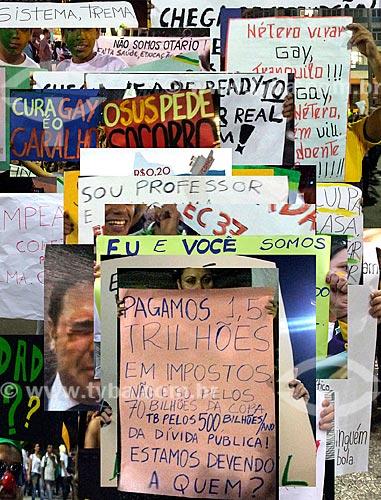 Assunto: Ilustração com diversos cartazes utilizados nas manifestações do Movimento Passe Livre no Rio de Janeiro / Local: Rio de Janeiro (RJ) - Brasil / Data: 06/2013