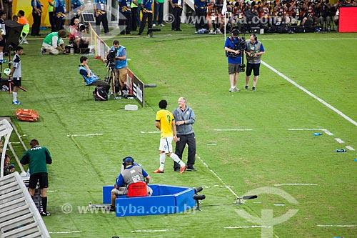 Jogador Fred e o treinador Luiz Felipe Scolari no jogo entre Brasil x Espanha pela final da Copa das Confederações  - Rio de Janeiro - Rio de Janeiro - Brasil