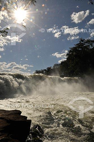 Assunto: Cachoeira do Salto no Rio Aporé - Divisa Natural dos Estados de MS e GO / Local: Cassilândia - Mato Grosso do Sul (MS) - Brasil / Data: 07/2013