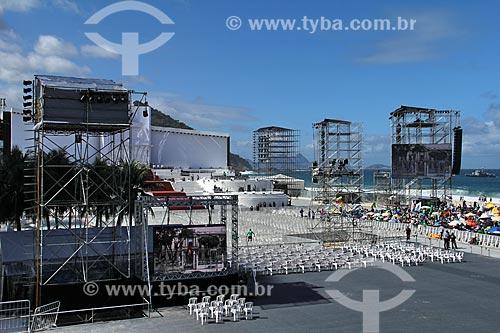 Assunto: Palco principal da Jornada Mundial da Juventude, montado na praia de Copacabana / Local: Copacabana - Rio de Janeiro (RJ) - Brasil / Data: 07/2013
