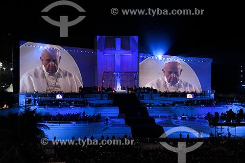 Assunto: Imagem do Papa Francisco no telão do palco principal da Jornada Mundial da Juventude / Local: Copacabana - Rio de Janeiro (RJ) - Brasil / Data: 07/2013