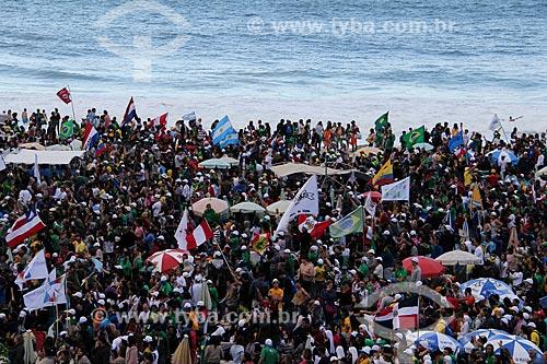 Assunto: Peregrinos durante a Jornada Mundial da Juventude (JMJ) na praia de Copacabana / Local: Copacabana - Rio de Janeiro (RJ) - Brasil / Data: 07/2013