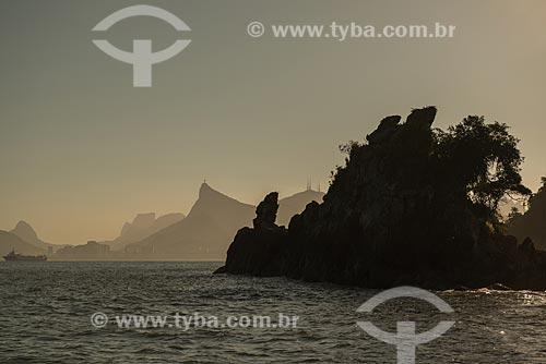 Assunto: Ilha do Morcego na Baía de Guanabara com o Morro do Corcovado ao fundo / Local: Rio de Janeiro (RJ) - Brasil / Data: 02/2013