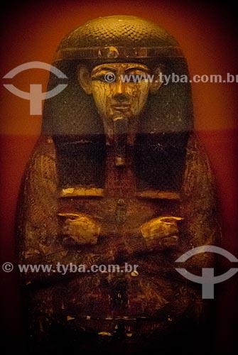 Assunto: Detalhe de sarcófago egípcio no Museu Nacional / Local: São Cristovão - Rio de Janeiro (RJ) - Brasil / Data: 12/2009
