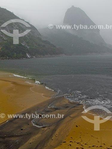 Assunto: Língua negra na areia da Praia Vermelha com o Pão de Açúcar ao fundo / Local: Urca - Rio de Janeiro (RJ) - Brasil / Data: 03/2012