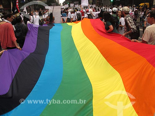 Assunto: Manifestação durante a conferência Rio + 20 - Bandeira do orgulho LGBT / Local: Rio de Janeiro (RJ) - Brasil / Data: 06/2012