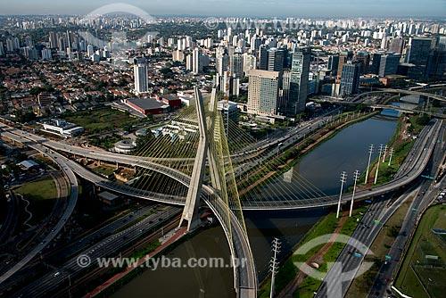 Assunto: Vista aérea da Ponte Octávio Frias de Oliveira (2008) / Local: São Paulo (SP) - Brasil / Data: 06/2013