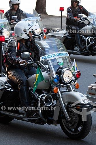Assunto: Batedores motociclistas da Polícia da Aeronáutica durante o desfile em comemoração ao Sete de Setembro na Avenida Presidente Vargas / Local: Centro - Rio de Janeiro (RJ) - Brasil / Data: 09/2013