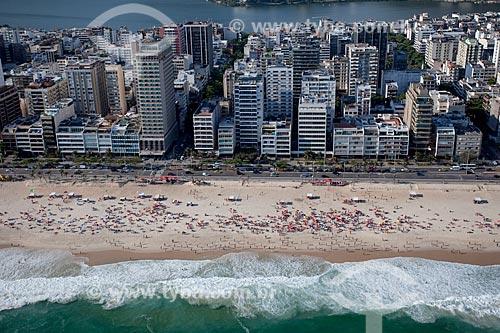 Assunto: Foto aérea da Praia de Ipanema próximo às ruas Maria Quitéria e Joana Angélica com a Lagoa Rodrigo de Freitas ao fundo / Local: Ipanema - Rio de Janeiro (RJ) - Brasil / Data: 04/2011