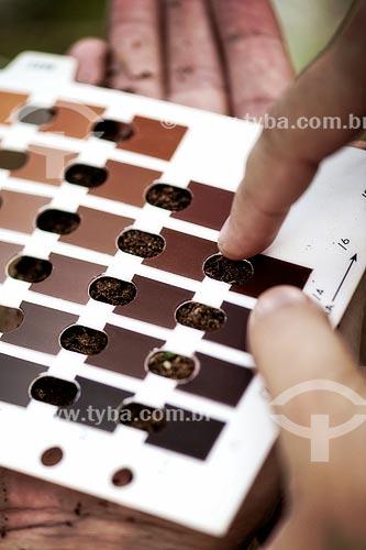 Assunto: Uso da tabela de cores de solo de Munsell em trabalho de campo no Sítio do Tequinho próximo aos geoglifos - Coordenado pela Prof. Drª Denise Pahl Schaan (UFPA) / Local: Acre (AC) - Brasil / Data: 05/2013