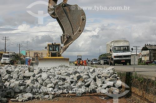 Canteiro de obras da duplicação da Rodovia Governador Mário Covas (BR-101) - próximo ao Porto de Sepetiba  - Paracambi - Rio de Janeiro - Brasil