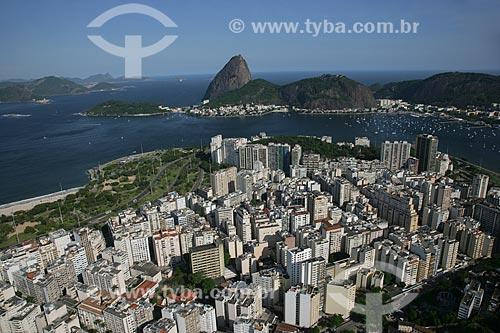 Foto aérea do Flamengo com o Pão de Açúcar ao fundo  - Rio de Janeiro - Rio de Janeiro - Brasil