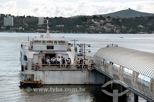 Assunto: Catamarã - que faz a travessia entre Rio de Janeiro e Niterói - chegando na Estação Hidroviária de Charitas (2004) / Local: Charitas - Niterói - Rio de Janeiro state (RJ) - Brasil / Data: 07/2013
