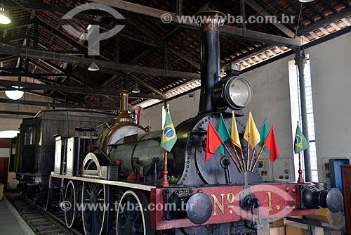 Assunto: A Baroneza - construída na Inglaterra, foi a primeira locomotiva a trafegar no Brasil na Estrada de Ferro Mauá em 1854 - no Museu do Trem (1984) / Local: Engenho de Dentro - Rio de Janeiro (RJ) - Brasil / Data: 09/2013