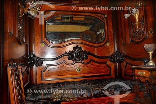 Dormitório no interior Carro Presidencial - também conhecido como Carro de Getúlio Vargas,  que o utilizou como carro presidencial na década de 30 - no Museu do Trem (1984)  - Rio de Janeiro - Rio de Janeiro - Brasil