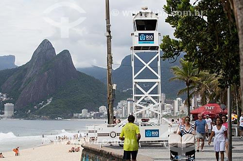 Assunto: Posto de observação da Guarda Municipal na Praia do Arpoador com o Morro Dois Irmãos ao fundo / Local: Ipanema - Rio de Janeiro (RJ) - Brasil / Data: 11/2013